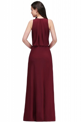 Cheap Front-split Crystal Floor-length V-neck Sleeveless Burgundy A-line Evening Dress in Stock_3