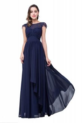 Cheap A-line Ruffles Ribbon Bow Capped Lace Chiffon Bridesmaid Dress in Stock_7