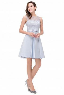 A-Line Knee Length Sleeveless Lace Short Prom Dresses_5