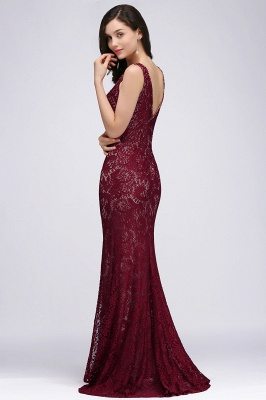 Cheap Crew Front-split Backless Prom Dress Sweep-train Sleeveless Burgundy Lace Mermaid Evening Dress in Stock_4