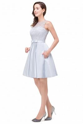 A-Line Knee Length Sleeveless Lace Short Prom Dresses_7