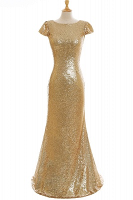 Cheap Women Sparkly Rose Gold Long Sequins Bridesmaid Dress in Stock_10