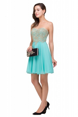A-line Sleeveless Short Chiffon Prom Dresses with Appliques_5