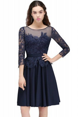 Cheap Dark Navy A-line Homecoming Dress in Stock_2