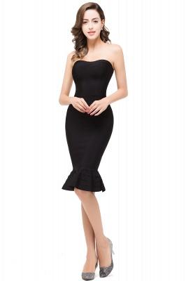 Mermaid Strapless Knee-Length Short Black Prom Dresses_5