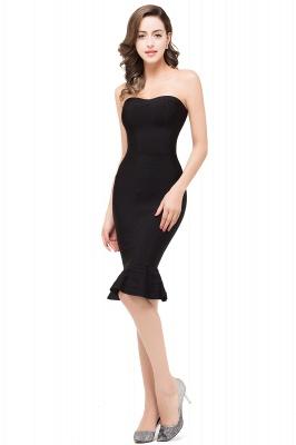 Mermaid Strapless Knee-Length Short Black Prom Dresses_4