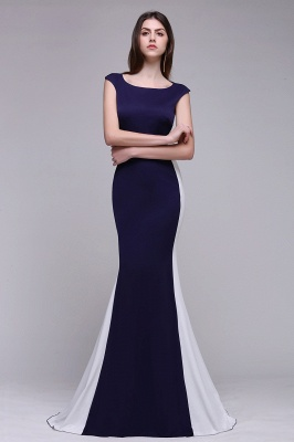 Sheath Scoop Floor-Length Dark Navy Evening Dresses_4
