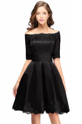 Cheap Chic Half Sleeve Lace-up Off-shoulder Lace Appliques Short Prom Dress in Stock_5