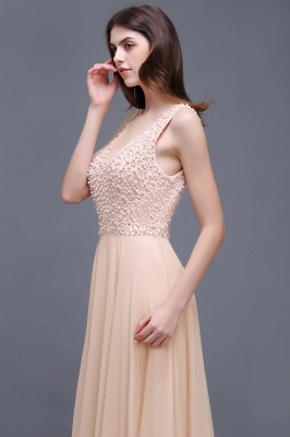 Sheath Sheer Chiffon Long Evening Dresses With Pearls_4