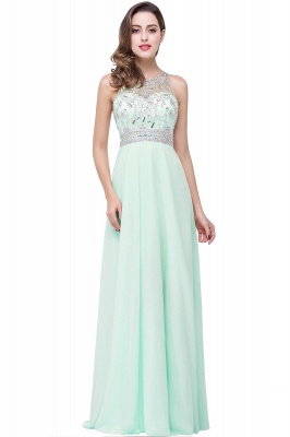Cheap A-line Jewel Chiffon Prom Dress with Beading in Stock_1