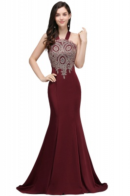 Mermaid Scalloped Floor-length Appliques Burgundy Prom Dresses with Beadings_1