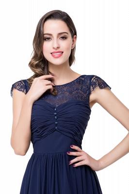 Cheap A-line Ruffles Ribbon Bow Capped Lace Chiffon Bridesmaid Dress in Stock_20