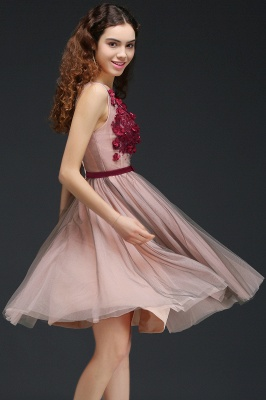 Princess V-neck Knee-length Tulle Homecoming Dress with a Self-tie Belt_6