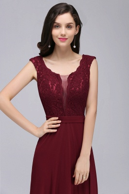 Cheap Elegant Lace A-line Long Burgundy Prom Dress in Stock_11