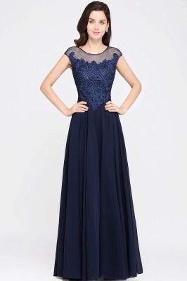 Cheap Cap Sleeve Lace Appliques Long Chiffon Evening Dress in Stock_1