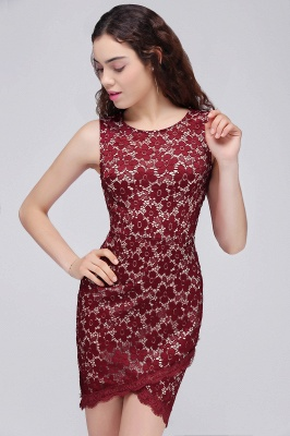Cheap Bodycon Round Neck Short Lace Burgundy Homecoming Dress in Stock_4