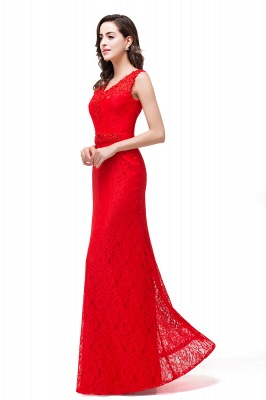 Long V-neck Floor-length Red Two-straps Sleeveless Prom Dress_5