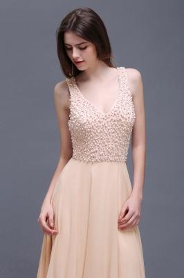 Sheath Sheer Chiffon Long Evening Dresses With Pearls_5