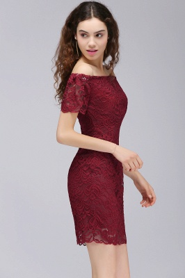 Cheap Burgundy Lace Sheath Homecoming Dress Short Sleeves Cocktail Dress in Stock_5