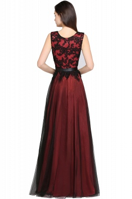 Cheap Pretty Sleeveless Black Lace Tulle Floor Length Formal Evening Dress with Sash in Stock_5