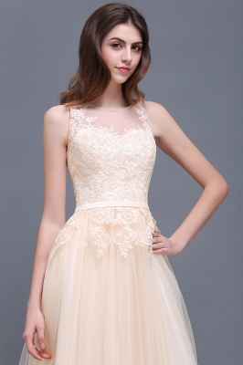 Lace-Appliques Prom Champagne Charming Sleeveless  Scoop-Neckline Party Dress_10