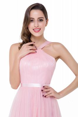Cheap Sheath Pink Tulle Ribbon Sash Simple Bridesmaid Dress in Stock_10