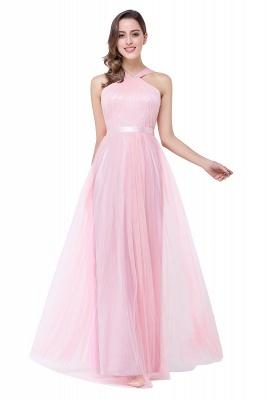Cheap Sheath Pink Tulle Ribbon Sash Simple Bridesmaid Dress in Stock_8