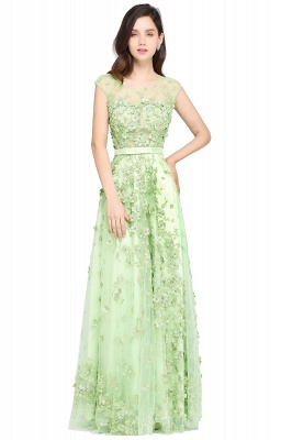 A-line Floor Length Tulle Green Prom Dresses with Appliques_1