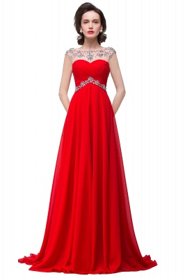Cheap A-line Sweetheart Chiffon Evening Dress With Crystal in Stock_2