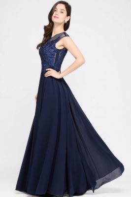 Cheap Cap Sleeve Lace Appliques Long Chiffon Evening Dress in Stock_7