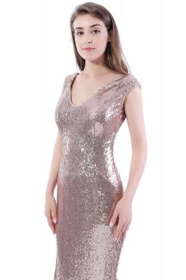 Mermaid Floor Length V-Neck Long Sequins Prom Dresses_8