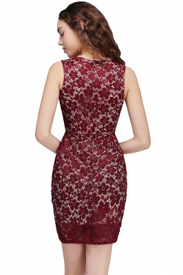 Cheap Bodycon Round Neck Short Lace Burgundy Homecoming Dress in Stock_3