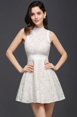 Princess High neck Knee-length White Cute Homecoming Dress_6