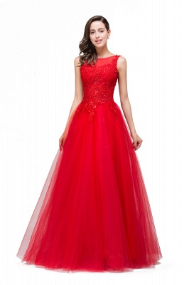 Chic Occasion Sepcial Sheer A-Line Red Evening Dresses_5