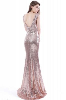 Mermaid Floor Length V-Neck Long Sequins Prom Dresses_3