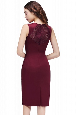 Cheap Cheap Burgungdy Cap Sleeve Lace Mermaid Homecoming Cocktail Party Dress in Stock_5