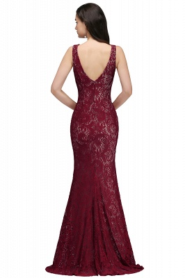 Cheap Crew Front-split Backless Prom Dress Sweep-train Sleeveless Burgundy Lace Mermaid Evening Dress in Stock_3