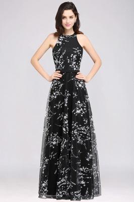 A-line Floor Length Black Evening Dresses with Flowers_3