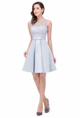 A-Line Knee Length Sleeveless Lace Short Prom Dresses_6