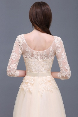 Champagne Scoop-Neckline Three-quarter-Sleeves Lace-Appliques Prom Dress_5