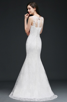 Mermaid Sweep Train Lace New Arrival Wedding Dresses with Buttons_5