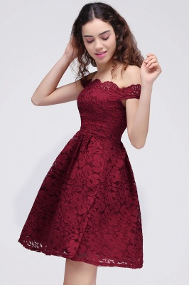 Cheap A-Line Off-the-shoulder Short Burgundy Lace Homecoming Dress in Stock_5