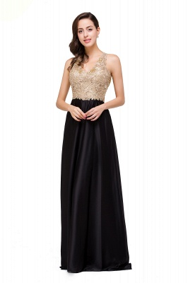 Cheap V-neck Satin Floor-Length A-Line Appliques Backless Prom Dress in Stock_9
