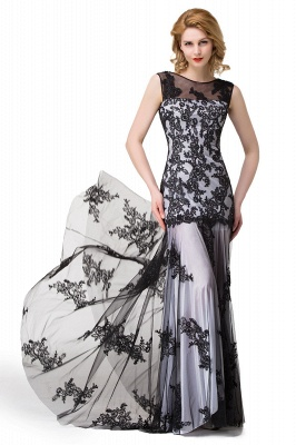 DANIELA | Scoop Neck lace Applique Mermaid Black Prom dresses_11