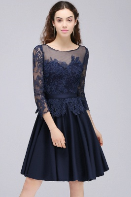Cheap Dark Navy A-line Homecoming Dress in Stock_6