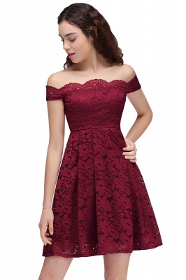 Cheap A-Line Off-the-shoulder Short Burgundy Lace Homecoming Dress in Stock_2
