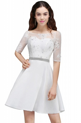 A Line Jewel White Short Sleeve Satin Homecoming Dresses With Lace_7