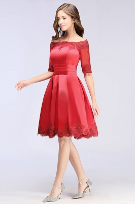 Cheap Chic Half Sleeve Lace-up Off-shoulder Lace Appliques Short Prom Dress in Stock_10
