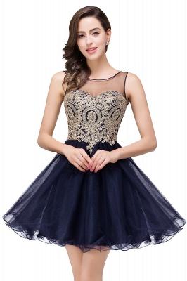 ESTRELLA | A-line Crew Short Sleeveless Appliques Prom Dress_5