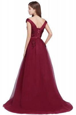 EMBER | A-line Off-shoulder Floor-length Tulle Appliques Prom Dresses_7
